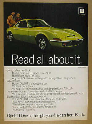 1970 Buick Opel GT yellow car photo vintage print Ad
