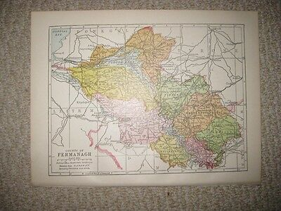 Antique 1914 County Fermanagh Ireland Map Railroad Detailed Fine Rare Nr