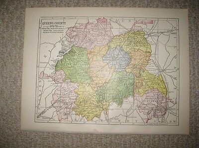 ANTIQUE 1914 QUEENS COUNTY now LAOIS IRELAND MAP RAILROAD DETAILED FINE RARE NR