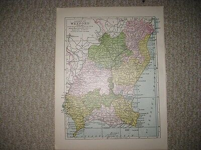 Antique 1914 County Wexford Ireland Map Railroad Detailed Fine Rare Nr