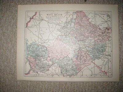 Antique 1914 County Westmeath Ireland Map Railroad Detailed Fine Rare Nr