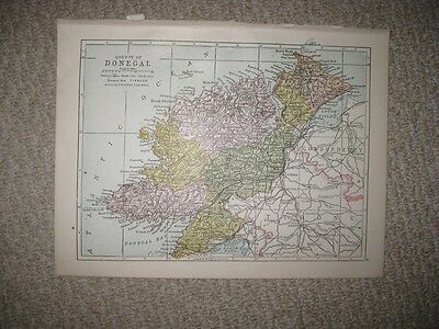Antique 1914 County Donegal Ireland Map Railroad Detailed Fine Rare Nr