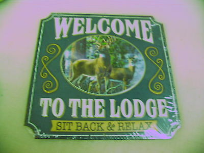 Welcome to the Hunting Lodge Tin Metal Sign Retro Vintage 3D w Buck & Doe Deer
