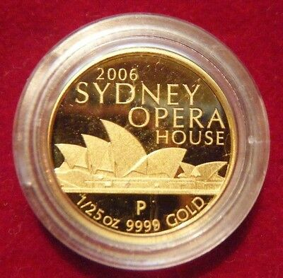 2006 Australia Sydney Opera House - Perth Mint 1/25 Oz Gold $5 Coin