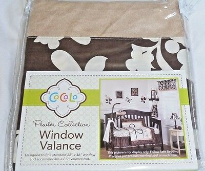 New Cocalo PEWTER COLLECTION Floral Brown Suede Window Valance  Baby NIP