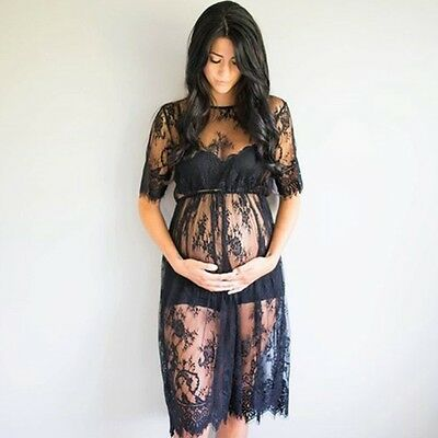 Women Lace Pregnant Maxi Dresses Maternity Gown Props Photo Shoot Photography