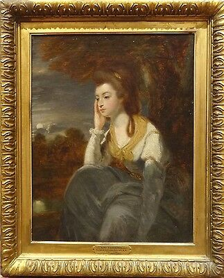 Fine 18th Century English Portrait Lady Stanhope Antique Oil Painting REYNOLDS