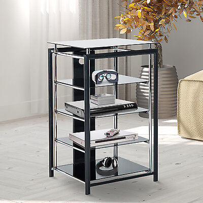 hifi rack tv turm regal st nder phonom bel aus metall hartglas schwarz eur 113 90 picclick de. Black Bedroom Furniture Sets. Home Design Ideas