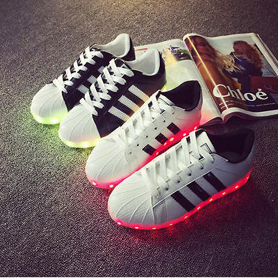 Men Women Lovers Led Shoes Night Light-Up Sneakers Lace Up Casual Unisex Sports