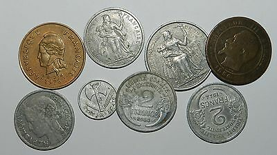 France & French Pacific : 8 Old Coins
