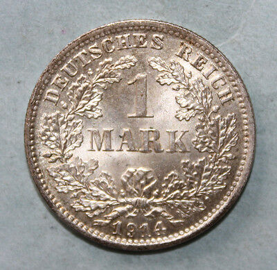 Germany 1 Mark 1914-D Brilliant Uncirculated Silver Coin - Imperial Eagle