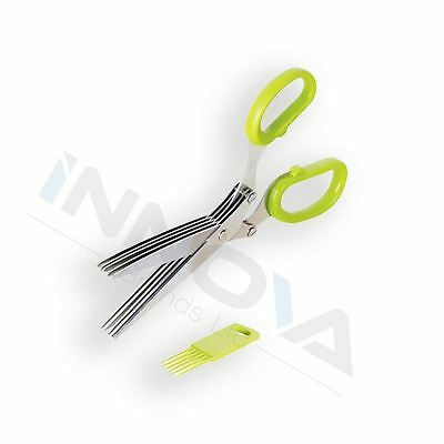 5 Blade Stainless Steel Herb Vegetable Kitchen Scissors Cutters Cleaning Comb