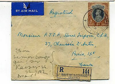 Nepal Registered Air Mail Cover Indian Embassy Postmark To Paris India Stamp