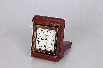 Vintage Leather Bound Cover Case Rapport Travel Clock Time Piece Fold Away