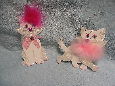 Kitty Cat Pair Ornaments - White with Silver Glitter & Pink Boa Feather Trim NEW