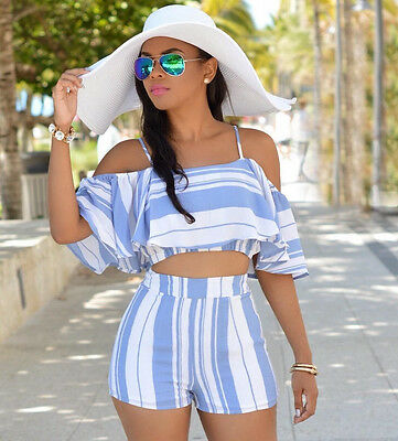 Women Ladies 2PCS Clubwear Playsuit Bodycon Party Jumpsuit&Romper Trousers