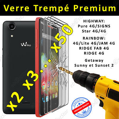 Film protection écran VERRE Trempé Wiko Sunset Sunny Rainbow Highway Star Pure