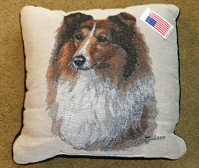 "Sheltie 17"" Tapestry Square Pillow ~ Artist, Judy Gibson"