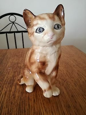 RETRO MELBA WARE CAT FIGURINE LARGE SIZE 19cm HIGH EAR REPAIRED