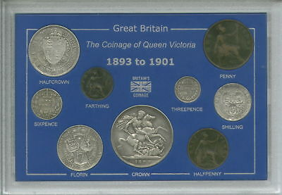 1893-1901 Queen Victoria Old Head Type GB Crown Coin Gift Set in Display Case