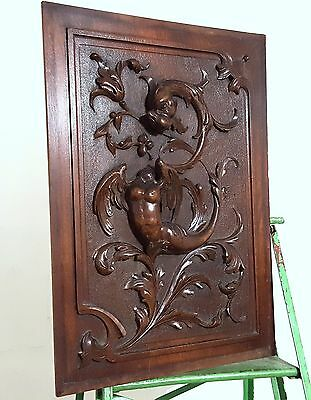 GRIFFIN SCULPTURE PANEL ANTIQUE FRENCH HAND CARVED WOOD GOTHIC CARVING 19 th