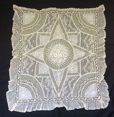 """Antique Fine French Normandy Net Lace Veil Shawl Pillow Cover 32"""" X 32 """""""