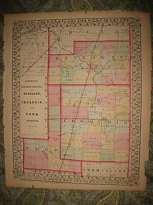 Rare Fine Antique 1870 Kankakee Iroquois Ford County Illinois Handcolored Map Nr