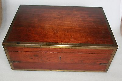 Antique Mahogany Brass Bound Campaign Writing Slope Box