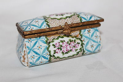 Antique Sevres Hand Painted Trinket Box Floral Panels & Ormalu Mount