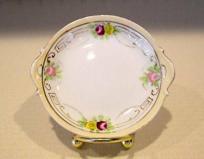 Antique Vintage Noritake Hand Painted Nippon Rising Sun Butter Pat  Floral