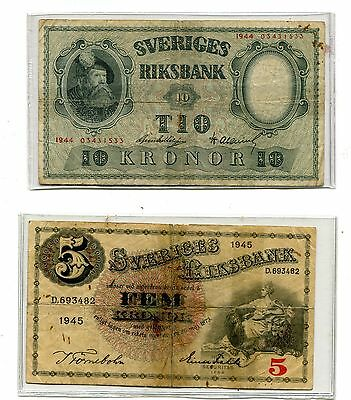 Sweden Lot Of 2 1944 1945 Professional Repaired Notes Nr 4.25