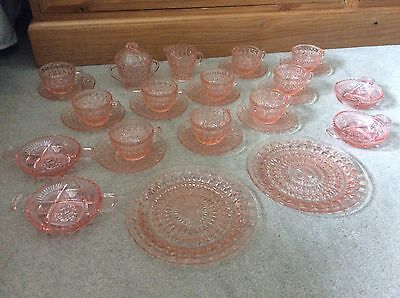 28 Pieces Of Pink Depression Glass Vintage Button And Bows Design