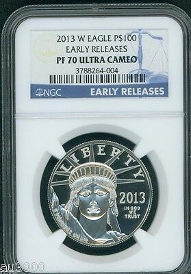 2013-W $100 PLATINUM STATUE  LIBERTY 1 Oz. NGC PF70 PROOF PR70 EARLY RELEASES ER