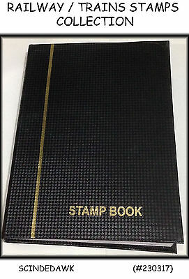 Collection of RAILWAY / TRAINS Stamp Different Countries in Small Stock Book