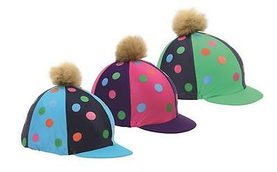 Shires Pom Pom Hat Cover With Spots - Pink / Purple.
