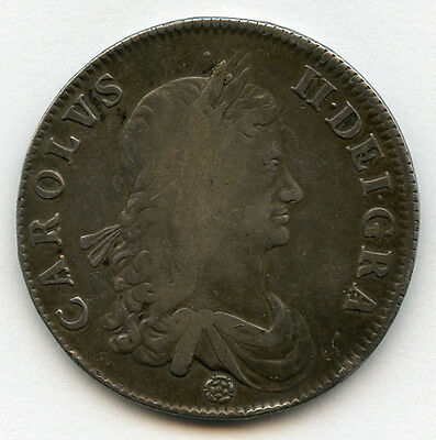 England 1662 King Charles Ii Crown First Type,rose Below Bust Nice Toned Avf/vf.