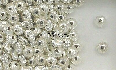 Sterling Silver 8mm Corrugated Rondelle Spacer Beads,  Choice of Lot Size