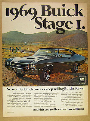 1969 Buick GS400 STAGE I hardtop car color photo vintage print Ad