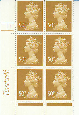 ENSCHEDE 50p RE2 CYLINDER 1 NO DOT  DULL YELL/FLR MNH