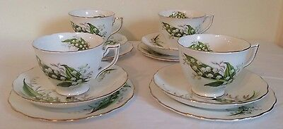 4 x Melba Bone China Tea Cup Trios -  Lily Of The Valley