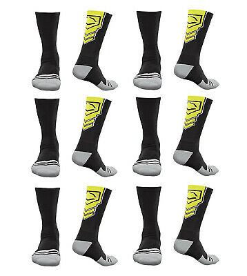 EvoShield Performance Crew Socks Black With Neon Yellow Large (6 pack)