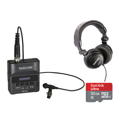 Tascam DR-10L Digital Recorder with Tascam TH-03 Headphones and 32GB SD Card