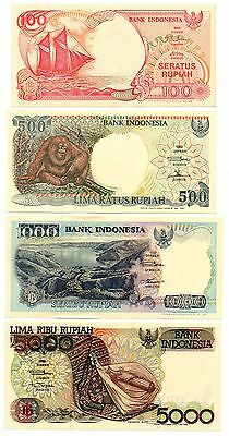 INDONESIA 100 / 500 / 1000 and 5000 Rupiah - A Set of 4 Crisp UNC Banknotes