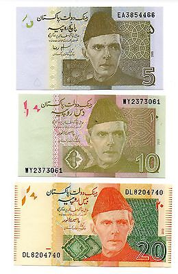 PAKISTAN  5 / 10 and 20 Rupees  - A Set of 3 Crisp UNC Banknotes