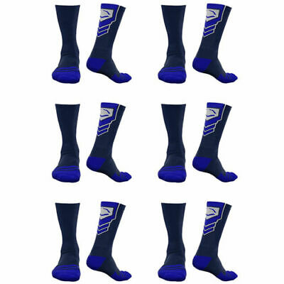 EvoShield Performance Crew Socks Navy with Royal Xlarge (6 pack)