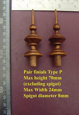 da type P - Pair stained wood vienna regulator wall clock FINIALS furniture DIY