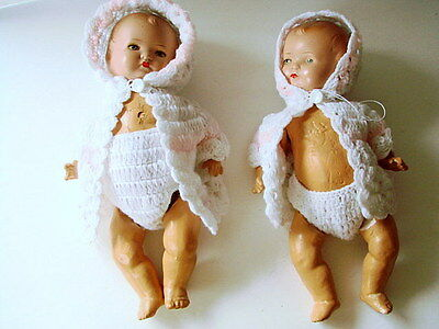 2 Vintage composition  Baby DOLLS Germany ( numbered) Twins COMPOSITE GIRL