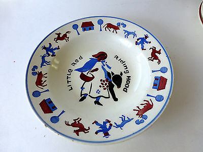 VTG LITTLE RED RIDING HOOD Childs pottery BOWL SMF Schramberg Germany plate