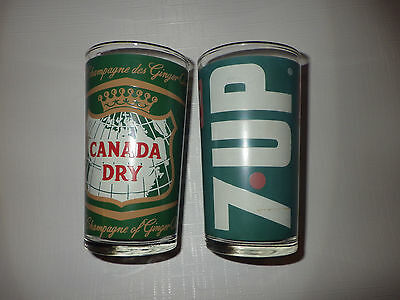 Vtg Soda Fountain Drink Glass 7 Up Canada Dry Ginger Ale 70s Uncola Canada Dry