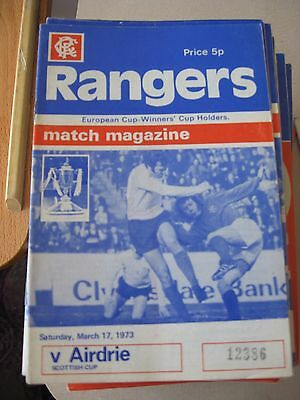 1972-73 Rangers v Airdrieonians Scottish Cup 17.3.1973